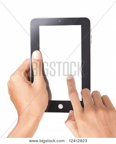 hand holding a touchpad tablet pc,