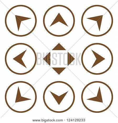 Circled Arrowheads vector icon set. Collection style is brown flat symbols on a white background. Circled Arrowheads icons.