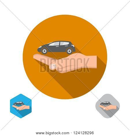Icon insurance of cars. Cars under protection. A vector illustration in flat style.