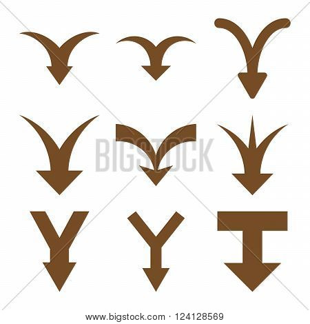 Join Arrows Down vector icon set. Collection style is brown flat symbols on a white background. Join Arrows Down icons.