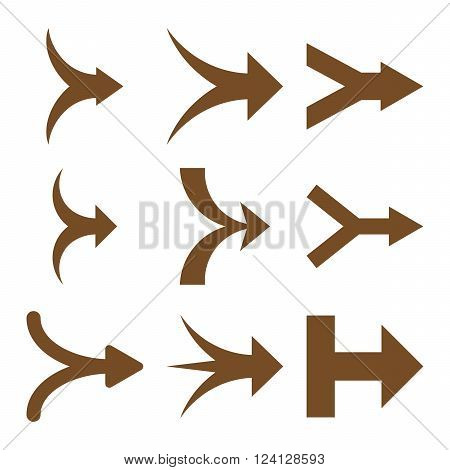 Join Arrows Right vector icon set. Collection style is brown flat symbols on a white background. Join Arrows Right icons.