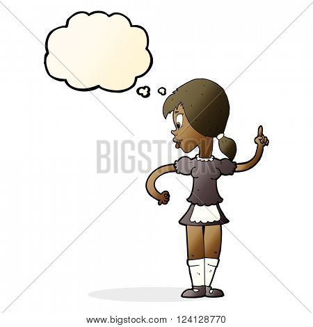 cartoon waitress calling order with thought bubble