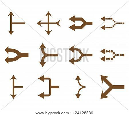 Junction Arrows Left vector icon set. Collection style is brown flat symbols on a white background. Junction Arrows Left icons.