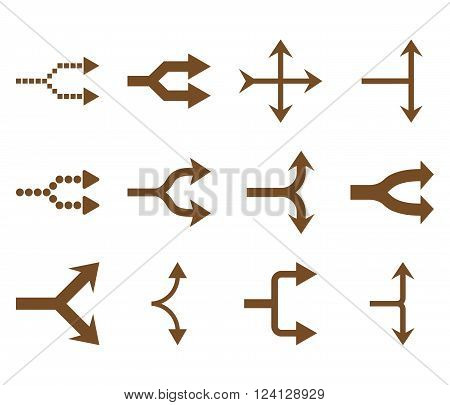 Junction Arrows Right vector icon set. Collection style is brown flat symbols on a white background. Junction Arrows Right icons.
