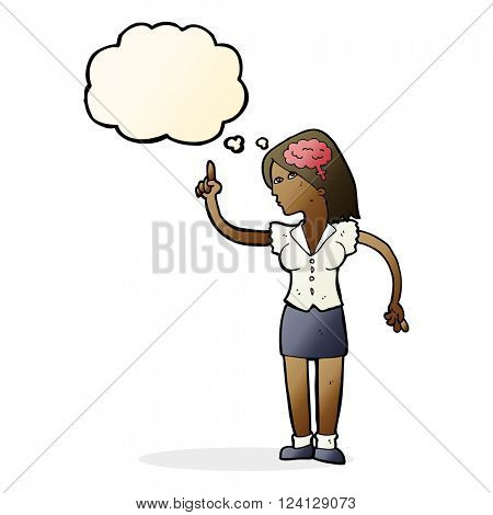 cartoon woman with clever idea with thought bubble