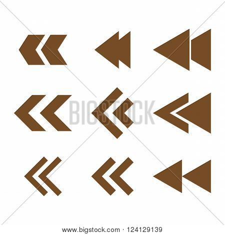 Left Direction vector icon set. Collection style is brown flat symbols on a white background. Left Direction icons.
