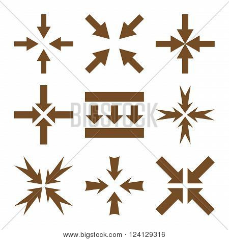Pressure Arrows vector icon set. Collection style is brown flat symbols on a white background. Pressure Arrows icons.