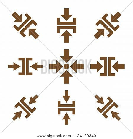 Pressure Directions vector icon set. Collection style is brown flat symbols on a white background. Pressure Directions icons.