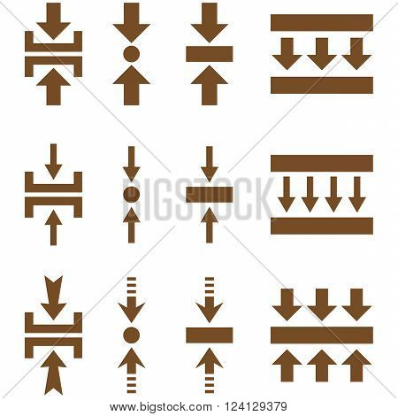 Pressure Vertical vector icon set. Collection style is brown flat symbols on a white background. Pressure Vertical icons.