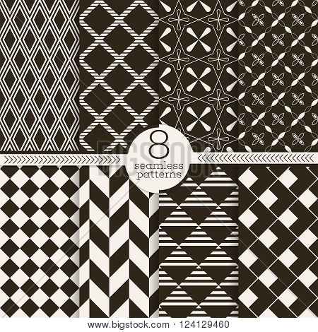 Set of seamless patterns. Classical stylish textures. Regularly repeating elegant geometrical patterns with different shapes. Vector element of graphical design