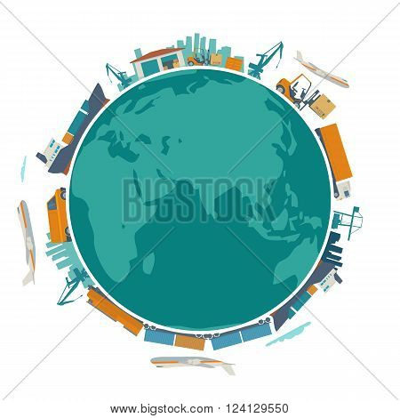 Global logistic shipping and worldwide delivery business concept - production process from factory to the shop. Earth planet globe surrounded plane train ship warehouse. Flat vector illustration