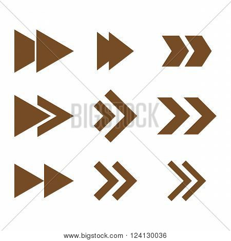 Right Direction vector icon set. Collection style is brown flat symbols on a white background. Right Direction icons.