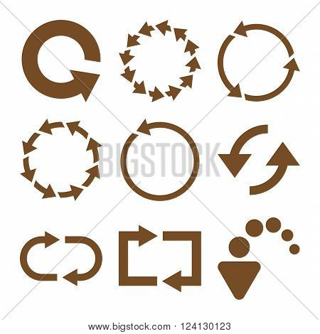 Rotate Arrows vector icon set. Collection style is brown flat symbols on a white background. Rotate Arrows icons.