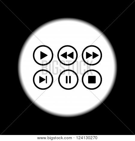 Media Player Buttons Collection Vector Design Elements