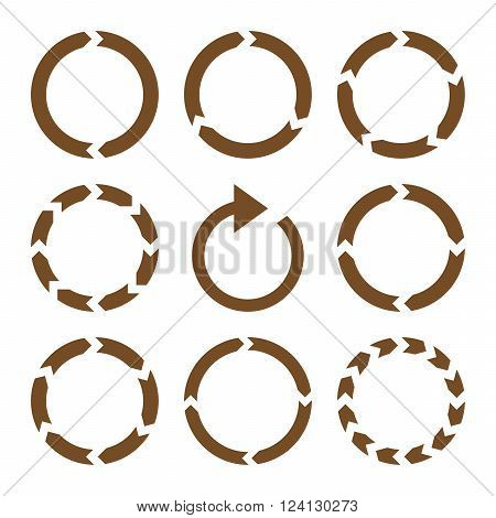 Rotation Direction vector icon set. Collection style is brown flat symbols on a white background. Rotation Direction icons.