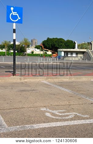 TEL AVIV, ISRAEL - APRIL 2: Parking place for disabled people  at a city parking ground on April 2, 2016  in Tel Aviv.