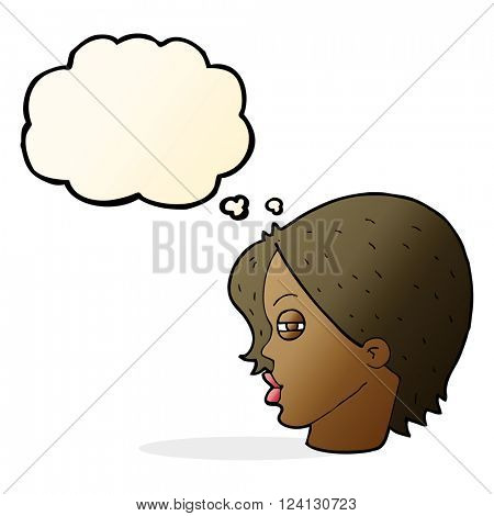 cartoon female face with narrowed eyes with thought bubble