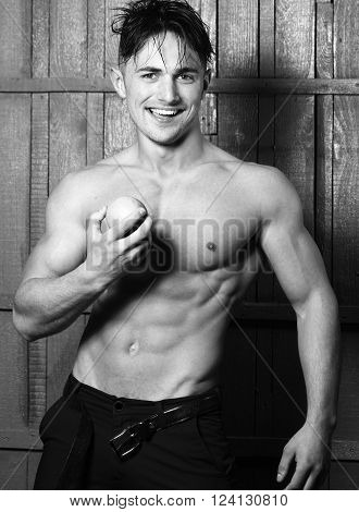 Muscular Man With Apple