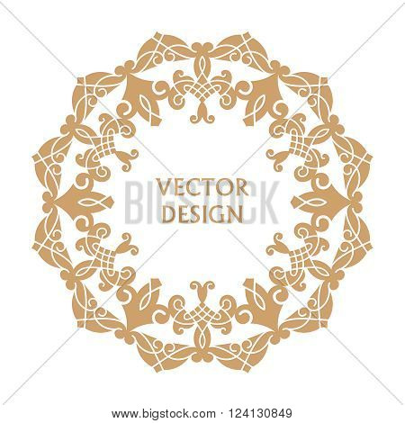 Vintage frame. Greeting card. Wedding invitation. Retro style. Vector logo template labels and badges