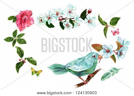 Vintage style frame with place for text with watercolor drawings of teal blue bird with branches of plum tree blossoms green leaves berries rhododendron flowers and butterflies on white background