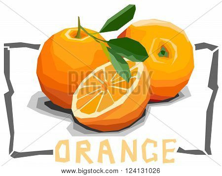 Vector simple illustration of oranges with half in angular cartoon style.