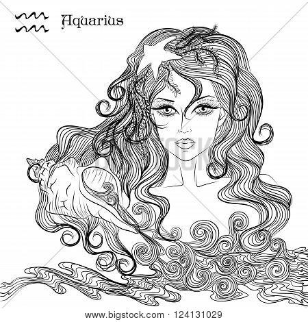 Zodiac. Vector illustration of the astrological sign of Aquarius as a beautiful girl with long hair. Lineart for coloring book page