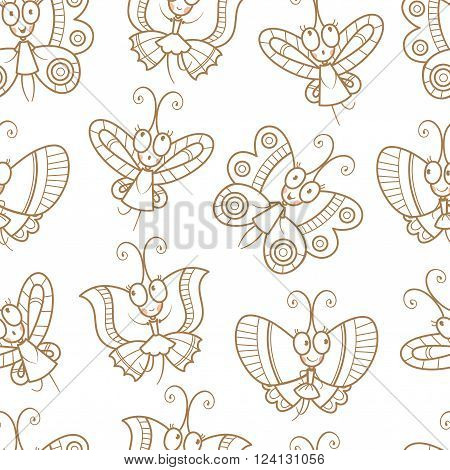 Summer seamless pattern with cute cartoon butterflies on  white background. Contour drawing. Children's illustration. Vector image.