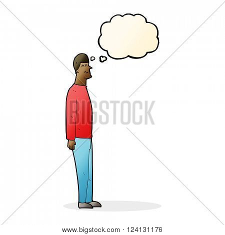 cartoon tall man with thought bubble
