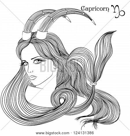 Zodiac. Vector illustration of the astrological sign of Capricorn as a beautiful girl with long hair. Lineart for coloring book page