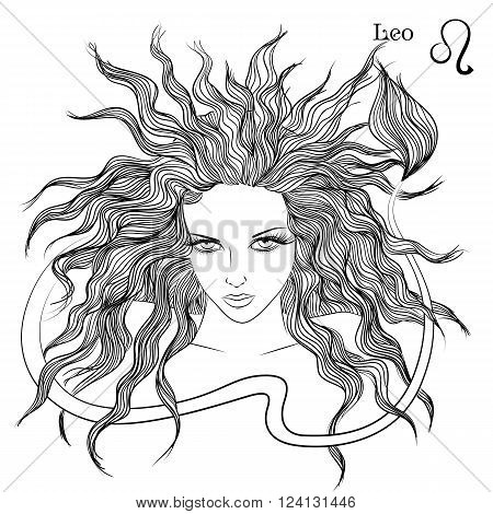 Zodiac. Vector illustration of the astrological sign of Leo as a beautiful girl with long hair. Lineart for coloring book page
