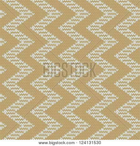 Repeating knitted seamless pattern with zigzag. Woolen texture with a jacquard pattern. Abstract winter holiday design. Sweater ornament