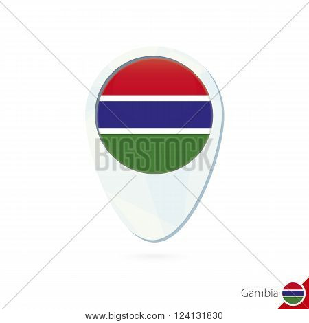 Gambia Flag Location Map Pin Icon On White Background.