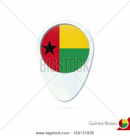 Guinea-bissau Flag Location Map Pin Icon On White Background.