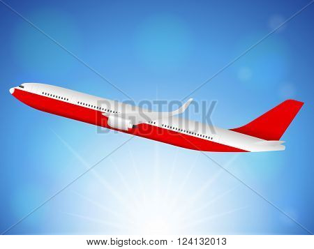 Airplane flying on blue sky. Vector illustration.
