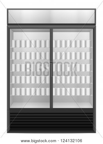 Display fridge with drink cans on a white background.