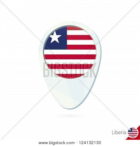 Liberia Flag Location Map Pin Icon On White Background.