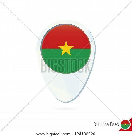 Burkina Faso Flag Location Map Pin Icon On White Background.