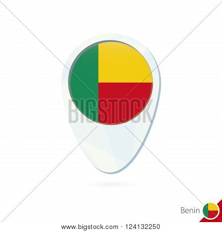 Benin Flag Location Map Pin Icon On White Background.