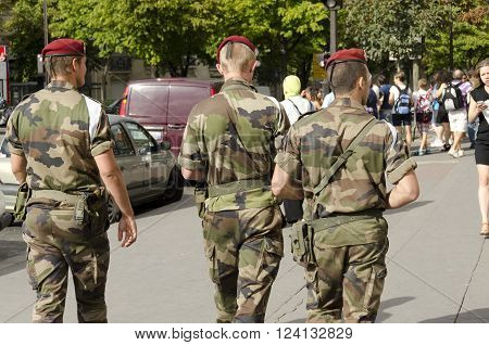 Paris France-August 13 2013: military patrol in Paris against the risk of terrorist attack