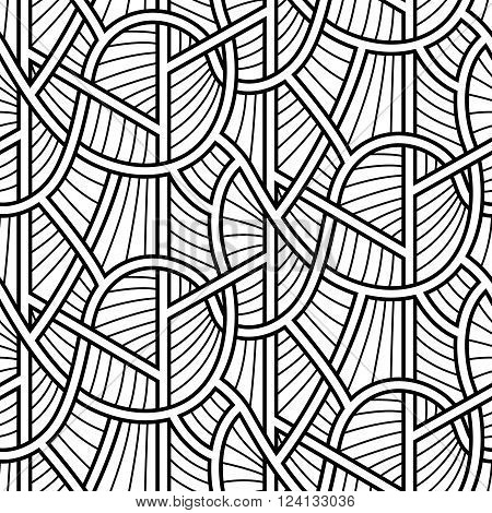 Abstract interlaced lines seamless vector pattern design