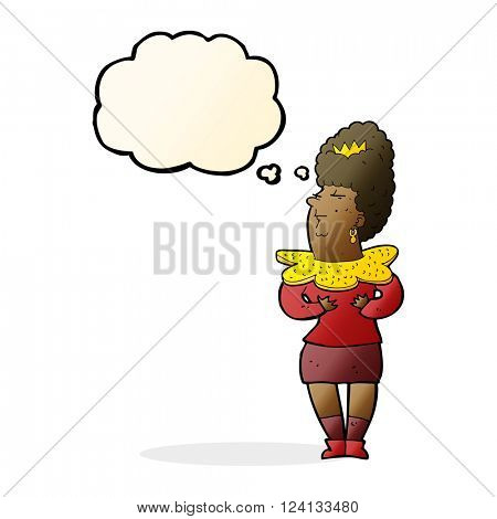 cartoon aristocratic woman with thought bubble