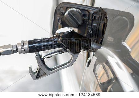 Closeup of the Valvoline fuel in petrol pumps.