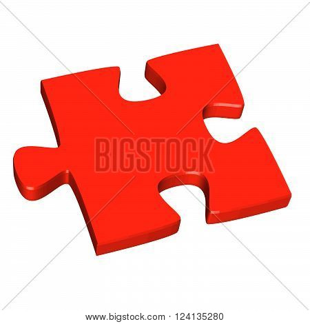 red three dimensional puzzle piece isolated on white background