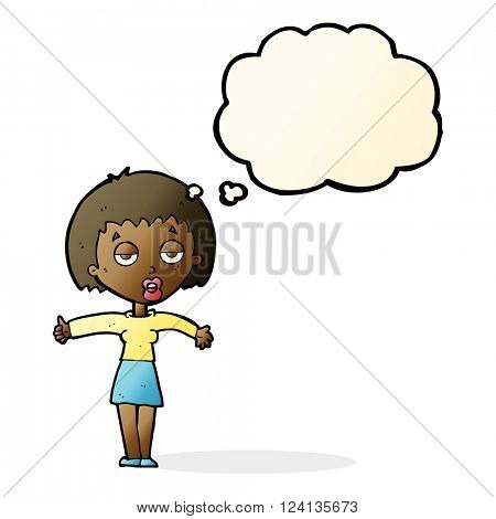 cartoon bored woman with thought bubble
