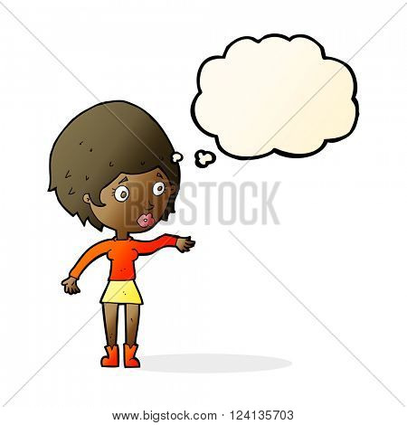 cartoon concerned woman reaching out with thought bubble