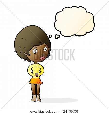cartoon concerned woman with thought bubble