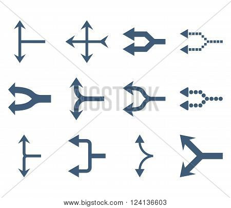 Junction Arrows Left vector icon set. Collection style is blue flat symbols on a white background. Junction Arrows Left icons.