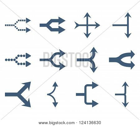 Junction Arrows Right vector icon set. Collection style is blue flat symbols on a white background. Junction Arrows Right icons.