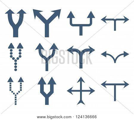 Junction Arrows Up vector icon set. Collection style is blue flat symbols on a white background. Junction Arrows Up icons.