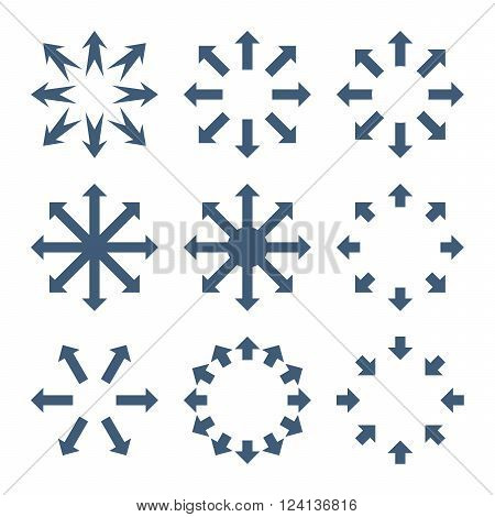 Maximize Arrows vector icon set. Collection style is blue flat symbols on a white background. Maximize Arrows icons.